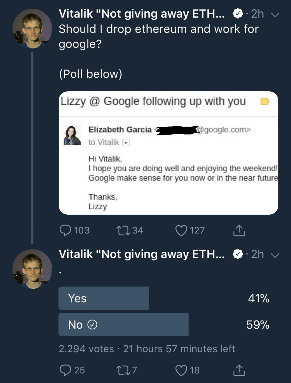 Ethereum'un yaratıcısı Google'a mı geçiyor?