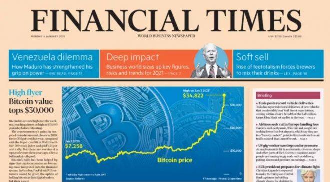 Bitcoin'in 30.000 dolara yükselişi Financial Times'ın ön sayfasında 4